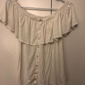 White off the shoulder American eagle shirt